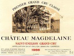 Etiquette  (11,9 X9)Château MAGDELAINE  1986  Saint Emilion Grand Cru 1er Grand Cru Classé JP Moueix à St Emilion 33 - Bordeaux