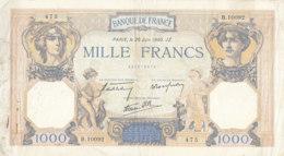 Billet 1000 F Cérès Et Mercure Du 20-6-1940 FAY 38.49 Alph. B.10092 - 1871-1952 Circulated During XXth