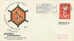 BELGIO - FDC  ARANCIO 1958  - EUROPA UNITA - CEPT - SPECIAL CANCEL EUROPLASTICA 61 - 1961-70