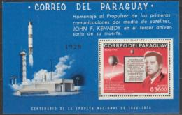 PARAGUAY - 1966 J. F. Kennedy Space Souvenir Sheet. Scott 1001a. MNH ** - Paraguay