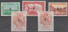 EL SALVADOR - 1957 Surcharges. Scott 692-696. Mint Light Hinge - El Salvador
