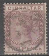 GIBRALTAR - 1886 2d Queen Victoria. Scott 12. Used - Gibraltar