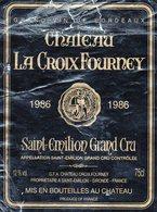 Etiquette  (8,9 X11,8) Château La Croix Fourney  1986  Saint-Emilion Grand Cru   GFA Chateau Croix Fourney à St Emilion - Bordeaux