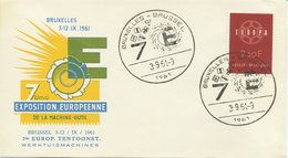 BELGIO - FDC  1959  - EUROPA UNITA - CEPT - SPECIAL CANCEL EXPOSITION EUROPEENNE - 1961-70