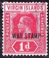 BRITISH VIRGIN ISLANDS 1916 KGVI 1d Carmen War Stamp SG78 Used - Iles Vièrges Britanniques