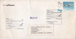 FIRST FLIGHT LUFTHANSA 25 AÑOS ALEMANIA~URUGUAY 1982. LOCHHEED 1049 G SUPER CONSTELLATION~BOEING 747. URUGUAY - BLEUP - Uruguay