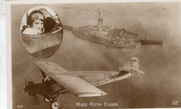 Miss Ruth Elder Sur Avion 'American Girl'  -  Aviatrice Americaine  -  CPA - Aviatori