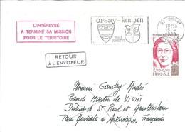 """TAAF - Lettre Retour à L'envoyeur Avec Griffe """"L'intéressé A Terminé Sa Mission Pour Le Territoire"""" - 15/04/1980 - Terres Australes Et Antarctiques Françaises (TAAF)"""