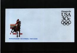 USA 1984 Olympic Games Los Angeles Aerogramme - Summer 1984: Los Angeles
