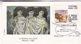 IV BIENAL DE ARTE. FDC 1981, MEDELLIN. COLOMBIA. TBE - BLEUP - Colombia