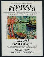 Rare // Etiquette De Vin // Art-Peinture-Tableau // Martigny, De Matisse à Picasso, Fondation Gianadda - Art