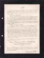 NANCY Marguerite Alix D'HOFFELIZE Comtesse O'GORMAN 78 Ans 1913 Lettre Mortuaire De CHATEAUBODEAU - Décès