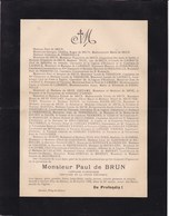 DURTOT Puy-de-Dôme Paul De BRUN Capitaine D'artillerie 48 Ans 1905 Famille De PERRINELLE De LACHAUX - Décès