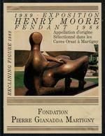 Rare // Etiquette De Vin // Art-Peinture-Tableau-sculpture // Fendant, Henry Moore, Fondation Gianadda - Art