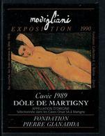 Rare // Etiquette De Vin // Art-Peinture-Tableau-sculpture // Dôle, Modigliani, Fondation Gianadda - Art