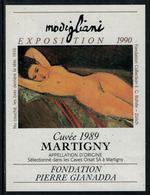 Rare // Etiquette De Vin // Art-Peinture-Tableau-sculpture // Martigny, Modigliani, Fondation Gianadda - Art