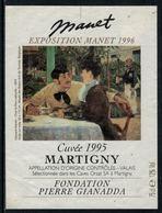 Rare // Etiquette De Vin // Art-Peinture-Tableau-sculpture // Martigny, Manet, Fondation Gianadda - Art