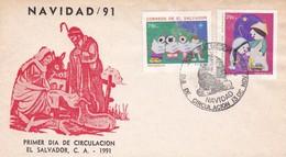 NAVIDAD CHRISTMAS. FDC 1991, EL SALVADOR, C A - BLEUP - Navidad
