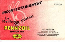 """Buvard Publicitaire - Incontestablement La Meilleure PENNZOIL, Motor Oil """"Jean Vassart 42, Av Gobelet, BAUDOUR"""" - Cartes Postales"""