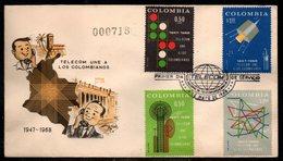 COLOMBIA- KOLUMBIEN - 1968.FDC/SPD. TELECOM 20 YEARS - Colombie