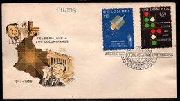 COLOMBIA- KOLUMBIEN - 1968.FDC/SPD. TELECOM 20 YEARS. SINGLE COVER - Colombie