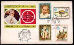 COLOMBIA- KOLUMBIEN - 1968.FDC/SPD. POPE PAUL VI VISIT TO COLOMBIA. COVER # 1 - Colombia