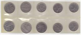 10 Italian  Coins : 50 And 100 Liras. Different Years. - 1946-… : République