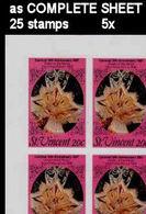 BULK: 5 X ST.VINCENT 1987 Carnival Dance Rumba Mask 20c IMPERF.COMPLETE SHEET:25 Stamps - St.Vincent (1979-...)