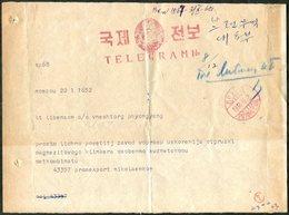TELEGRAPH 1960 NORTH KOREA Phyongyang ERROR Pmk Telegram From Moscow USSR Telegramm Télégramme Corée Du Nord Nordkorea - Corée Du Nord