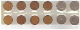 12 Danish Coins : 5 øre And 1 Krone. Different Years. - Denemarken