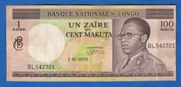 Congo  Republique  1  Zaire  = 100  Makuta  1/10/1970 - Congo