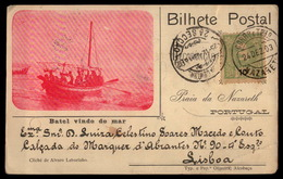 NAZARE Portugal Praia Da Nazareth Batel Vindo Do Mar 1903 Old Postcard - Portugal