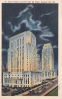 Missouri Kansas City Court House And City Hall By Night Curteich - Kansas City – Missouri