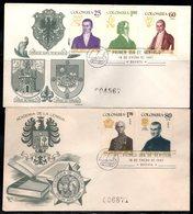 COLOMBIA- KOLUMBIEN - 1967.FDC/SPD. COLOMBIAN PERSONALITIES. SET X 2 COVERS - Colombie