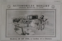 Affiche Publicité BERLIET 1907  René VINCENT , Illustrateur. - Publicités