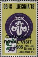 ST.VINCENT 1985 Scouting $1.50 OVPT:Royal Visit ERROR:OVPT.INV. - St.Vincent (1979-...)