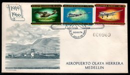COLOMBIA- KOLUMBIEN - 1966.FDC/SPD. AVIATION. HISTORY OF THE COLOMBIAN AVIATION-DORNIER WAL, DOUGLAS DC-3 AND DC-4 - Colombia