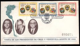 COLOMBIA- KOLUMBIEN - 1966.FDC/SPD. CHILE, VENEZUELA AND COLOMBIA PRESIDENTS MEETING - Colombia