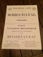 Tuilerie BORIE CHANAL à TOULOUSE Poterie BEYAERT LURAT à ROSENDAEL LES DUNKERQUE Carreaux Mosaiques RAYNAUD à NARBONNE - 1800 – 1899