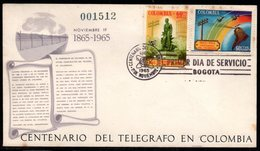 COLOMBIA- KOLUMBIEN - 1965.FDC/SPD. CENTENARY OF THE TELEGRAPH IN COLOMBIA - Colombia