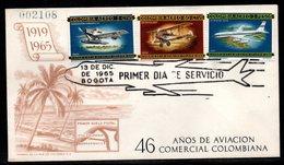 COLOMBIA- KOLUMBIEN - 1965.FDC/SPD. AVIATION - 46 YEARS OF COMMERCIAL AVIATION IN COLOMBIA-JUNKERS, DE HAVILLAND, BOEING - Colombie