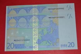 2x 20 EURO PORTUGAL  - U018F2 - M83601209992 / M83601210001 - UNC NEUF - EURO