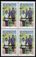 ST.VINCENT 1985 Boys Brigade Scouting 60c 4-BLOCK OVPT:CARIBBEAN ROYAL VISIT-1985 - St.Vincent (1979-...)