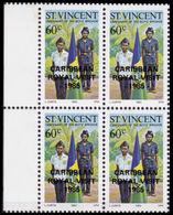 ST.VINCENT 1985 Boys Brigade Scouting 60c MARG.4-BLOCK OVPT:CARIBBEAN ROYAL VISIT-1985 - St.Vincent (1979-...)
