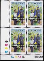 ST.VINCENT 1985 Boys Brigade Scouting 60c CORNER 4-BLOCK OVPT:CARIBBEAN ROYAL VISIT-1985 - St.Vincent (1979-...)