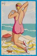 CPA Illustrateur NAG Scène De Plage Baigneuse Mode Elégance Femme Maillot De Bain - Illustrateurs & Photographes