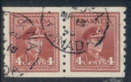 Canada 1942 KGVI Portrait Coil Pair 4c FU - Sin Clasificación