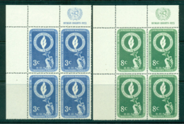 UN New York 1955 Human Rights Day Imprint Blk4 TL MUH Lot40867 - New York -  VN Hauptquartier