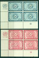 UN New York 1956 Honouring The ITU Plate # Imprint Blk 4 MUH Lot40882 - New York -  VN Hauptquartier