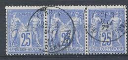N°79 BANDE DE 3   BEAU CACHET A DATE - 1876-1898 Sage (Type II)